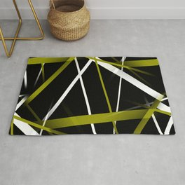 Seamless Olive Green and White Stripes on A Black Background Rug
