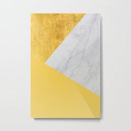 Carrara marble with gold and Pantone Primrose Yellow color Metal Print