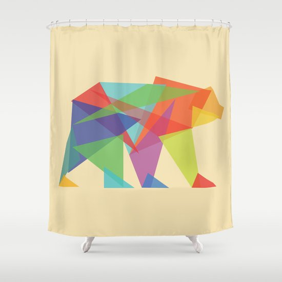 Fractal Geometric bear Shower Curtain