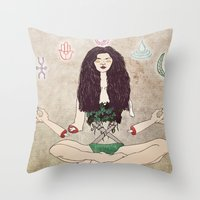 zen Throw Pillows featuring Zen by minniemorrisart