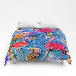 Flip Flops and Flamingos Comforters