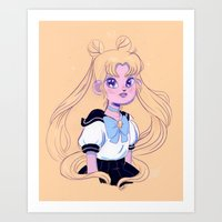 sailor moon Art Prints featuring Sailor Moon by Natali Koromoto