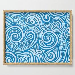 Blue Liquid Swirls Serving Tray