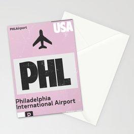 PHL Philadelphia airport code Stationery Cards