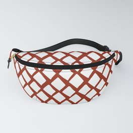 Rhombus White And Red Fanny Pack