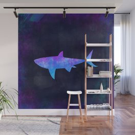 SHARK IN SPACE // Animal Graphic Art // Watercolor Canvas Painting // Modern Minimal Cute Wall Mural