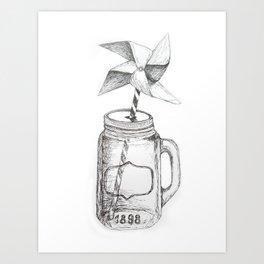 Black & white glass illustration Art Print