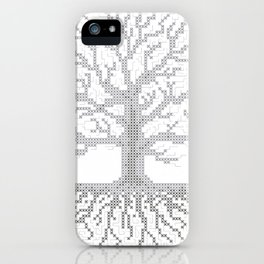 Pixel Art - Cross Stitch Chart - Grey Tree of Life - iPhone Case