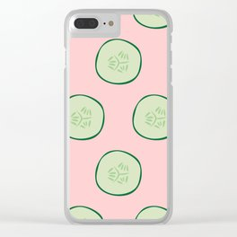 Bright Refreshing Summer Pink Cucumber Pattern Clear iPhone Case