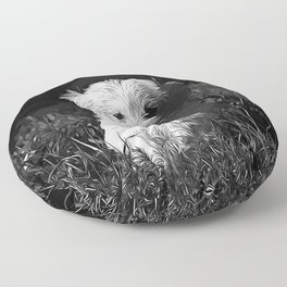 maltese dog vector art black white Floor Pillow