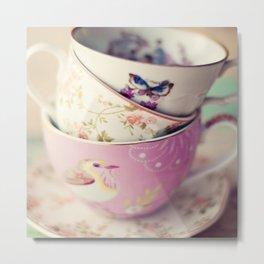 Tea Cup Stack Metal Print