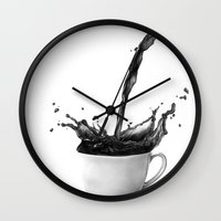 coffee Wall Clocks featuring Coffee by Thubakabra