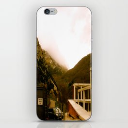 Stand here with the mountain in background iPhone Skin