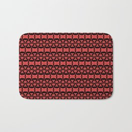 Dividers 02 in Red over Black Bath Mat