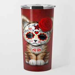 Red Day of the Dead Sugar Skull Tiger Cub Travel Mug