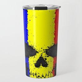 Flag of Romania on a Chaotic Splatter Skull Travel Mug