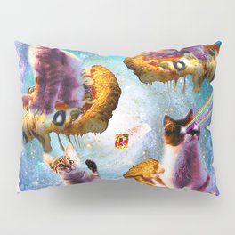 Outer Space Cats With Rainbow Laser Eyes Riding On Pizza Pillow Sham