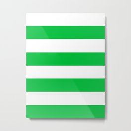 Wide Horizontal Stripes - White and Dark Pastel Green Metal Print