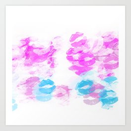 kisses lipstick pattern abstract background in pink and blue Art Print