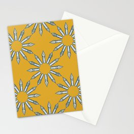 Dip Pen Nibs Circle (Mustard, Teal and Light Grey) Stationery Cards