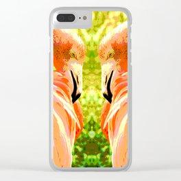 Flamingo illustration versus illustrated flamingo Clear iPhone Case