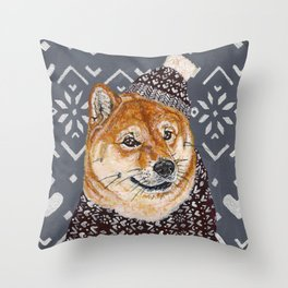 Shiba Inu in a  Hat and Scarf Throw Pillow
