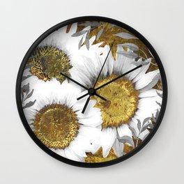 Gray Day White Sunflowers Wall Clock