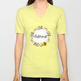 HP Hufflepuff in Watercolor Unisex V-Neck