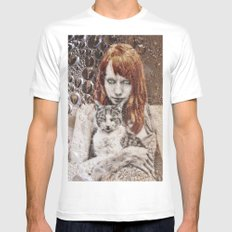 cats White SMALL Mens Fitted Tee