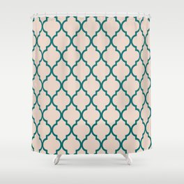 Classic Quatrefoil Lattice Pattern 323 Jade and Beige Shower Curtain