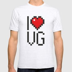 PAUSE – I Love Video Games SMALL Ash Grey Mens Fitted Tee