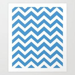 Celestial blue - blue color - Zigzag Chevron Pattern Art Print