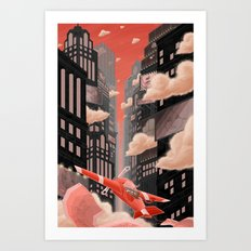 Red Night Flight Art Print