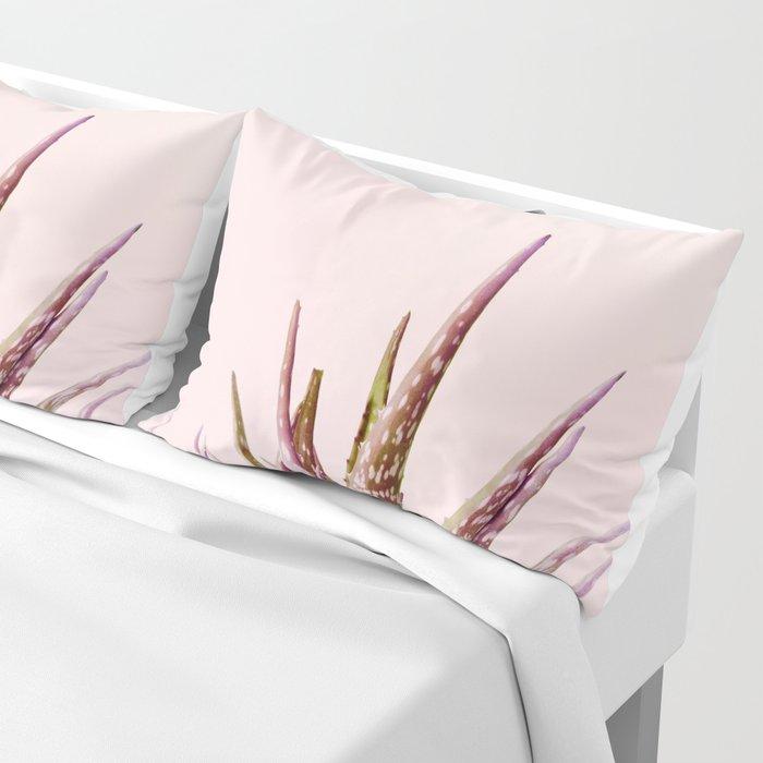 Duotone Aloe Vera on pastel Coral Pillow Sham