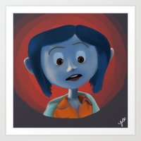coraline Art Prints featuring Coraline by Jaderl