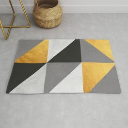Gray and gold texture I Rug