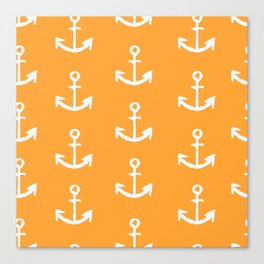 Anchors - Orange Canvas Print