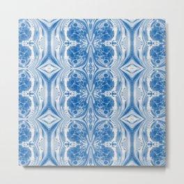 Blue Marbleized Mirror Painting Metal Print