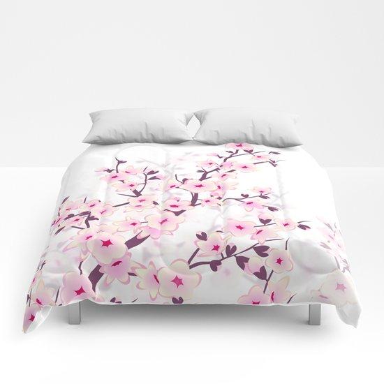 Cherry Blossom Pink White Comforters