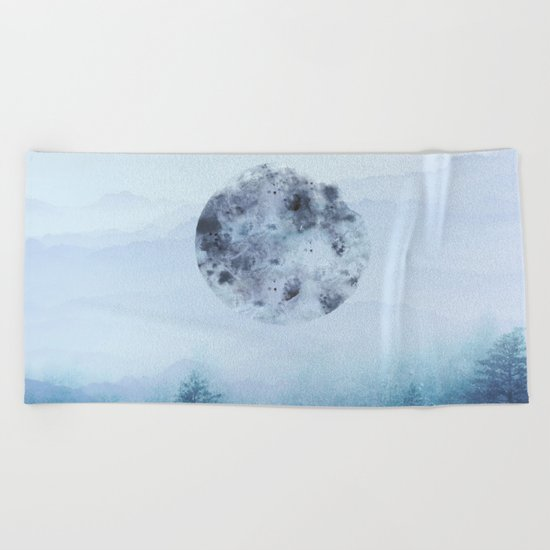 Watercolor Moon Beach Towel