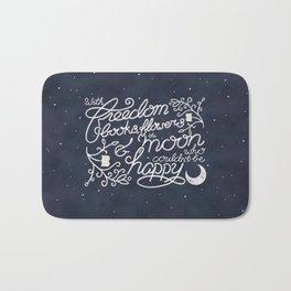 Oscar Wilde Moon Books Quote Calligraphy Stars Bath Mat