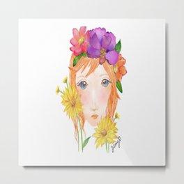 Red hair flower Metal Print