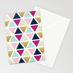 Triangle Geometry, Gold, Navy blue and Pink Stationery Cards