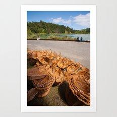 Wicker baskets for sale Art Print