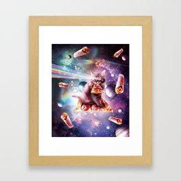 Space Cat Eating Pizza - Rainbow Laser Eyes, Burrito Framed Art Print