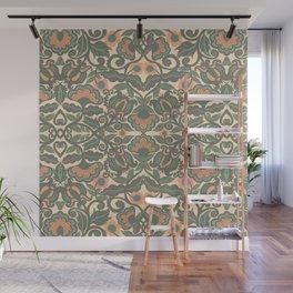 Green Vines Folk Art Flowers Pattern Wall Mural