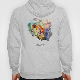 Map of Poland watercolor Hoody