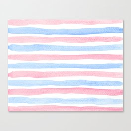 Blue Pink Watercolor Stipes Canvas Print