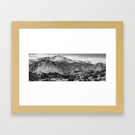 Garden of the Gods and Pikes Peak Panorama - Monochrome Framed Art Print