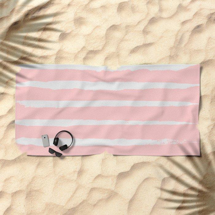 Irregular Hand Painted Stripes Pink Beach Towel